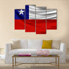 Realistic flag of Chile on the wavy surface of fabric Multi panel canvas wall art