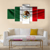 Realistic flag of Mexico on the wavy surface of fabric Multi panel canvas wall art