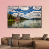 Boat house and the idyllic Maligne Lake in Jasper National Park, Canada, wall art