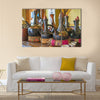 African cafe with many traditional for the coffee ceremony multi panel canvas wall art