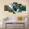 Victoria Falls at drought near Livingstone, Zimbabwe, as aerial shot made from a helicopter Multi panel canvas wall art