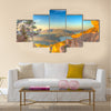 Landscape of the gulf of capo caccia from the Cave of broken vessels at sunset Multi Panel Canvas Wall Art