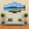 Kavala, An Unidentified People And Boat On Beach Of Neaperamos, Anaktoroupoli, Multi Panel Canvas Wall Art