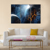 Abstract planet with huge cracks with lava in space Multi Panel Canvas Wall Art