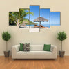 Tropical Beach Landscape With Deckchair And Parasol, Madagascar, Multi Panel Canvas Wall Art