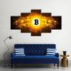 Bitcoin digital currency, futuristic digital money, technology worldwide network concept multi panel canvas wall art