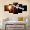 Satellite orbiting the planet Earth Multi Panel Canvas Wall Art