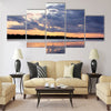 summer sunset in Latvia on river Daugava Multi panel canvas wall art