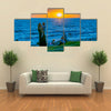 Sunset summer scene at waterfront park at coast of Montevideo city, Uruguay Multi panel canvas wall art