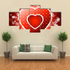 Vector Illustration Red Valentines Heart with Sparkles multi panel canvas wall art