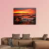 Rich red velvet sunrise casts its hues over Pearl Beach wall art
