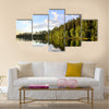 Amazing view of reflection of clouds and trees on lake, Sweden, wall art