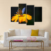 Blue butterfly on yellow flower Multi Panel Canvas Wall Art