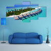 An Aerial Flying Drone View Of Maldives White Sandy Beach On Sunny Tropical Paradise Island Multi Panel Canvas Wall Art
