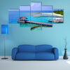 Aerial View Of Maldives White Sandy Beach With Aqua Blue Sky, Multi Panel Canvas Wall Art