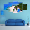 Aerial Flying Drone View Of Maldives White Sandy Beach On Sunny Tropical Paradise Island Multi Panel Canvas Wall Art