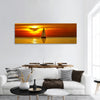 Sailboat at sunset Panoramic Canvas Wall Art