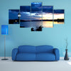 Sunset in the river with reflex Multi panel canvas wall art