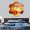 Landscape in fantasy planet hexagonal canvas wall art