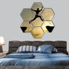 Man jump through the gap hexagonal canvas wall art