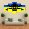 Ukrainian flag combined with the black pirate image of Jolly Roger Multi panel canvas wall art