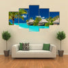 tropical island with palm trees and amazing vibrant beach multi panel canvas wall art