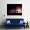 Military silhouettes of soldiers dark foggy sky Multi panel canvas wall art