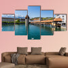 View of the Kapellbrucke in Lucerne in spring, Switzerland multi panel canvas wall art