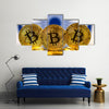 Physical version of Bitcoin (new virtual money) and India Flag multi panel canvas wall art
