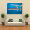 Whale Shark And Snorkeling People Multi Panel Canvas Wall Art
