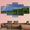 Rainbow over the lake close up Multi panel canvas wall art