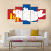 Map and flag of Mongolia. Vector illustration World map Multi panel canvas wall art