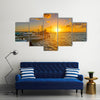 Scene Of A Holbox Island Port At Sunset In Mexico, Multi Panel Canvas Wall Art