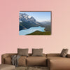 Spring aerial view of the Peyto lake and snowy rocky mountains wall art