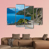 Winding road along mountain cliff and lake landscape in canvas wall art