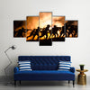 Military silhouettes of soldiers Multi panel canvas wall art