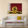 Physical version of Bitcoin Qatar  Flag multi panel canvas wall art