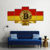 Physical version of Bitcoin and Germany Flag multi panel canvas wall art