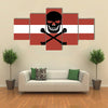 The Flag Of The Latvia With Crossbones And Jolly Roger And Lack Canvas Of A Pirat Multi Panel Canvas Wall Art