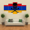 Armenian Flag Combined With The Black Pirate Image Of Jolly Roger With Crossbones Multi Panel Canvas Wall Art