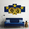 Physical version of Bitcoin and European Union Flag multi panel canvas wall art