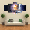 Falling Water Into Space Planets And Sea Waters Multi Panel Canvas Wall Art Print Set