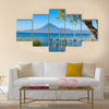 Wooden pier at Lake Atitlan on the shore at Panajachel, Guatemala Multi panel canvas wall art