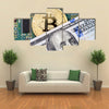 Digital cryptocurrency gold bitcoin electronic computer component and american dollar Multi panel canvas wall art