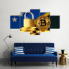 Physical version of Bitcoin, golden padlock and Solomon Islands Flag multi panel canvas wall art