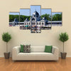 Building in Budapest with its Reflection in the water Multi Panel Canvas Wall Art
