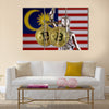physical version of Bitcoin and Malaysia Flag multi panel canvas wall art