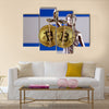 physical version of Bitcoin and Israel Flag multi panel canvas wall art