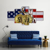 Symbol of law and justice, physical version of Bitcoin and United States Flag multi panel canvas wall art
