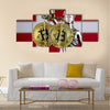 physical version of Bitcoin and Denmark Flag multi panel canvas wall art